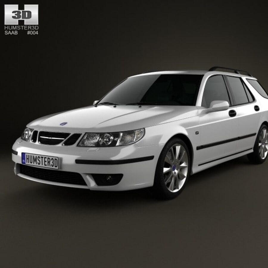 Saab 9-5 Aero vagn 2005 royalty-free 3d model - Preview no. 6