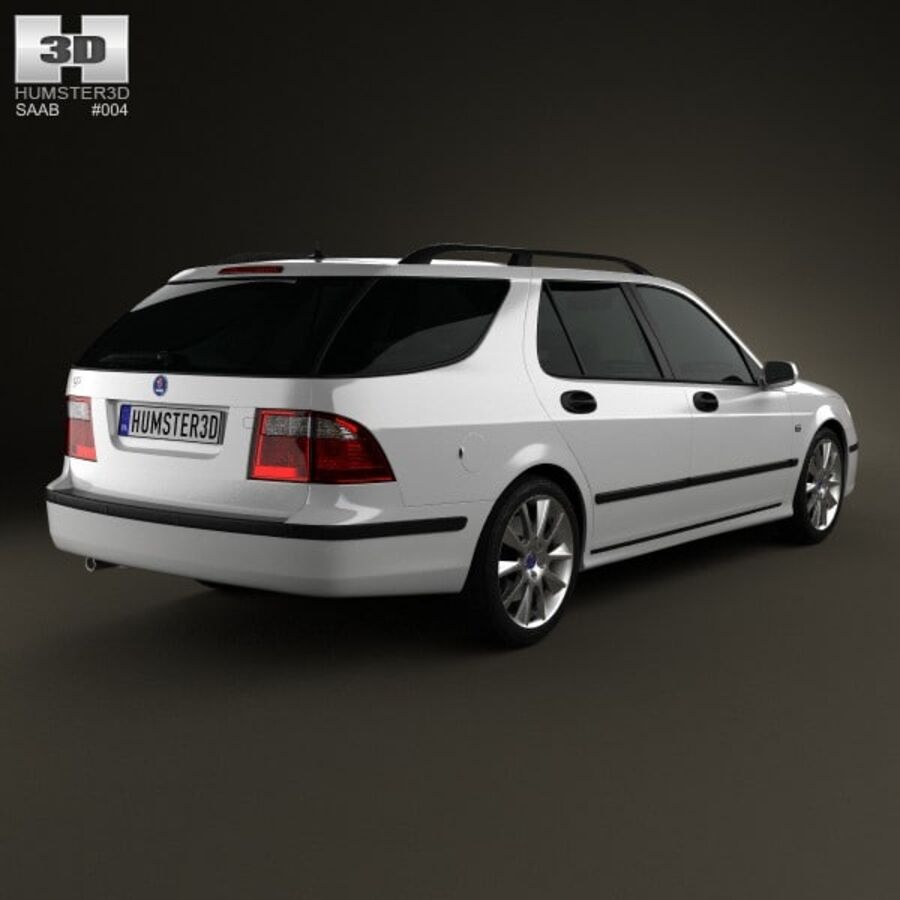 Saab 9-5 Aero vagn 2005 royalty-free 3d model - Preview no. 2