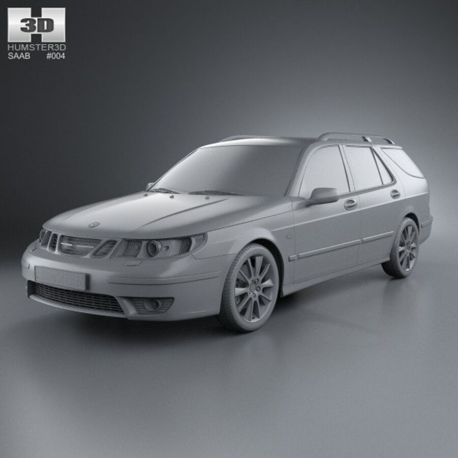 Saab 9-5 Aero vagn 2005 royalty-free 3d model - Preview no. 11