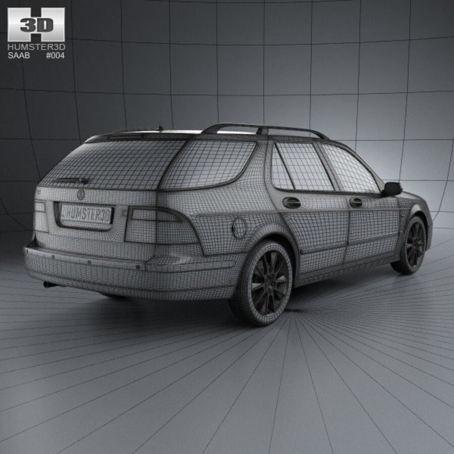 Saab 9-5 Aero vagn 2005 royalty-free 3d model - Preview no. 4