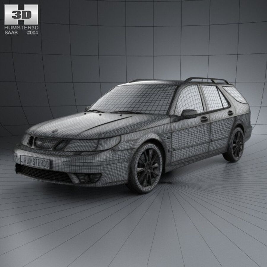 Saab 9-5 Aero vagn 2005 royalty-free 3d model - Preview no. 3