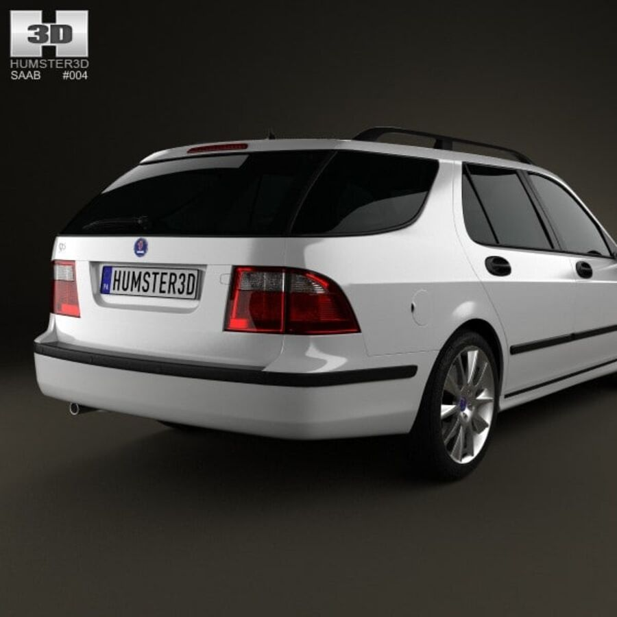 Saab 9-5 Aero vagn 2005 royalty-free 3d model - Preview no. 7