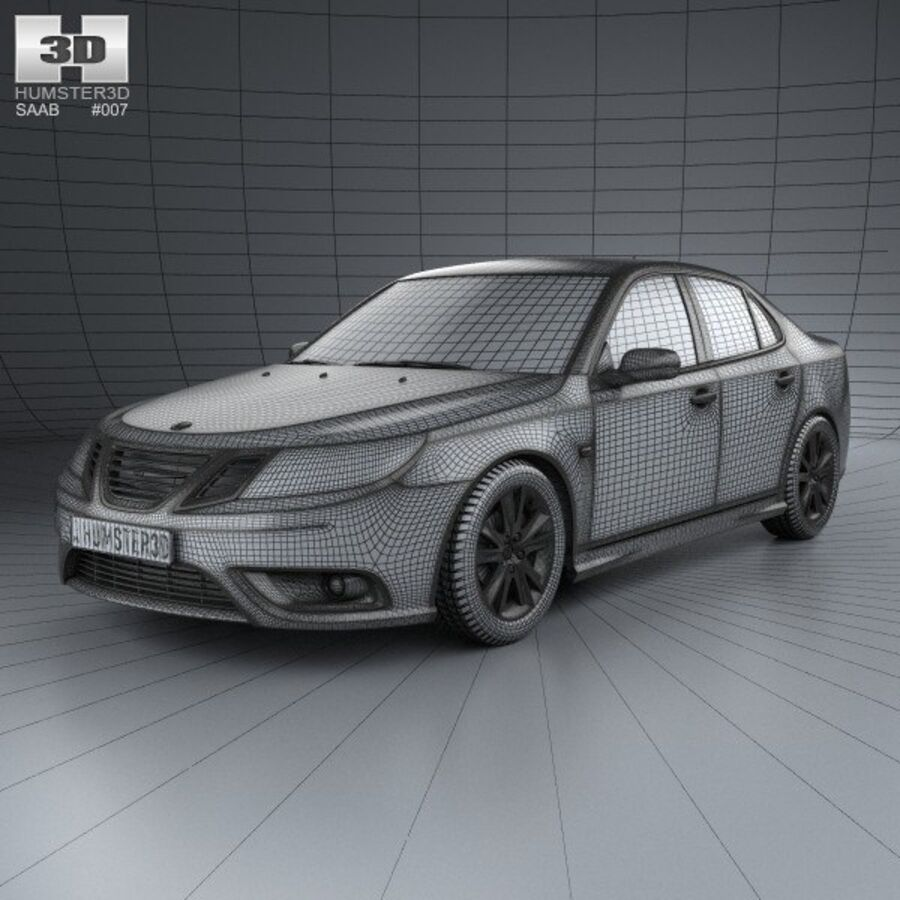 Saab 9-3 Sport Sedan 2008 royalty-free 3d model - Preview no. 3