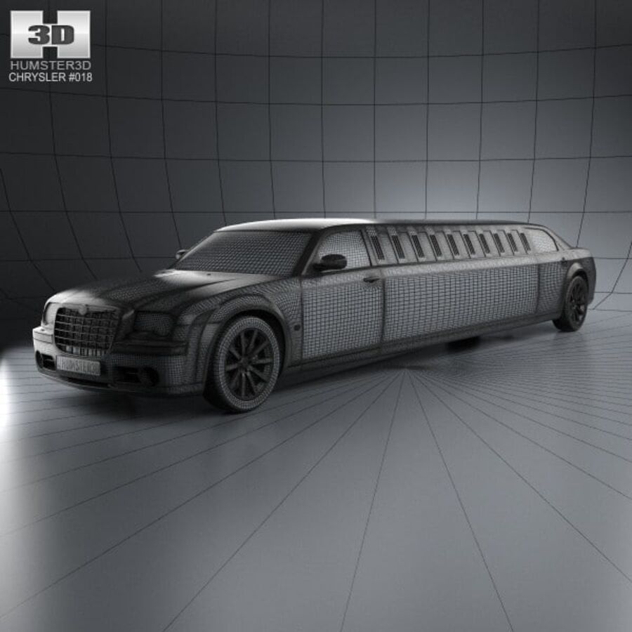 Chrysler 300C Limousine 2009 royalty-free 3d model - Preview no. 3