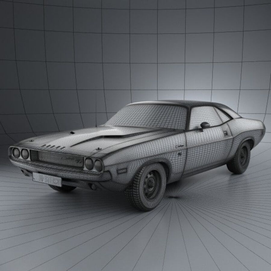 Dodge Challenger hardtop 1970 royalty-free 3d model - Preview no. 3