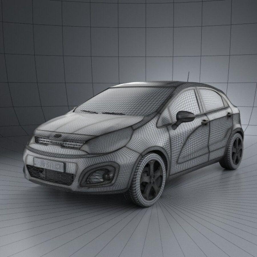 Kia Rio 5door 2012 royalty-free 3d model - Preview no. 3