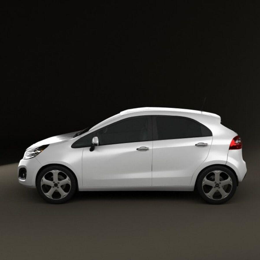 Kia Rio 5door 2012 royalty-free 3d model - Preview no. 5