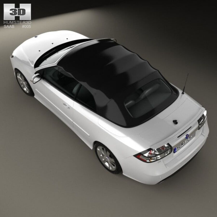 Saab 9-3 cabriolet 2008 royalty-free 3d model - Preview no. 9