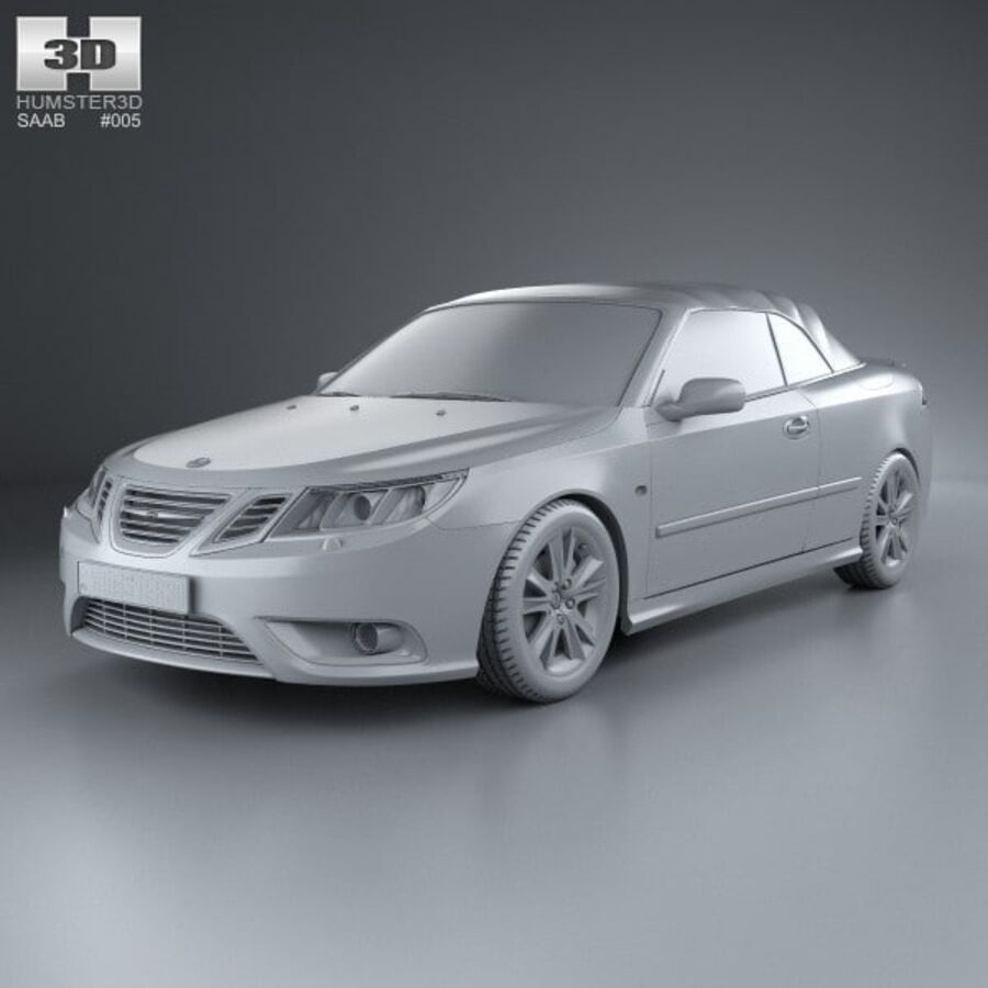 Saab 9-3 cabriolet 2008 royalty-free 3d model - Preview no. 11