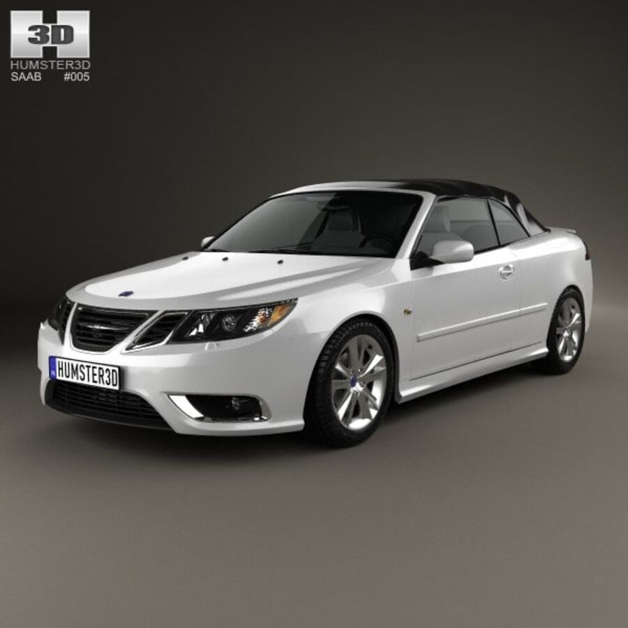 Saab 9-3 cabriolet 2008 royalty-free 3d model - Preview no. 1