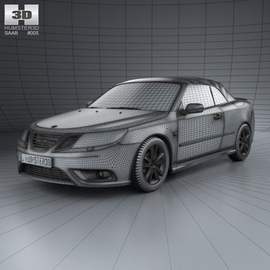 Saab 9-3 cabriolet 2008 royalty-free 3d model - Preview no. 3