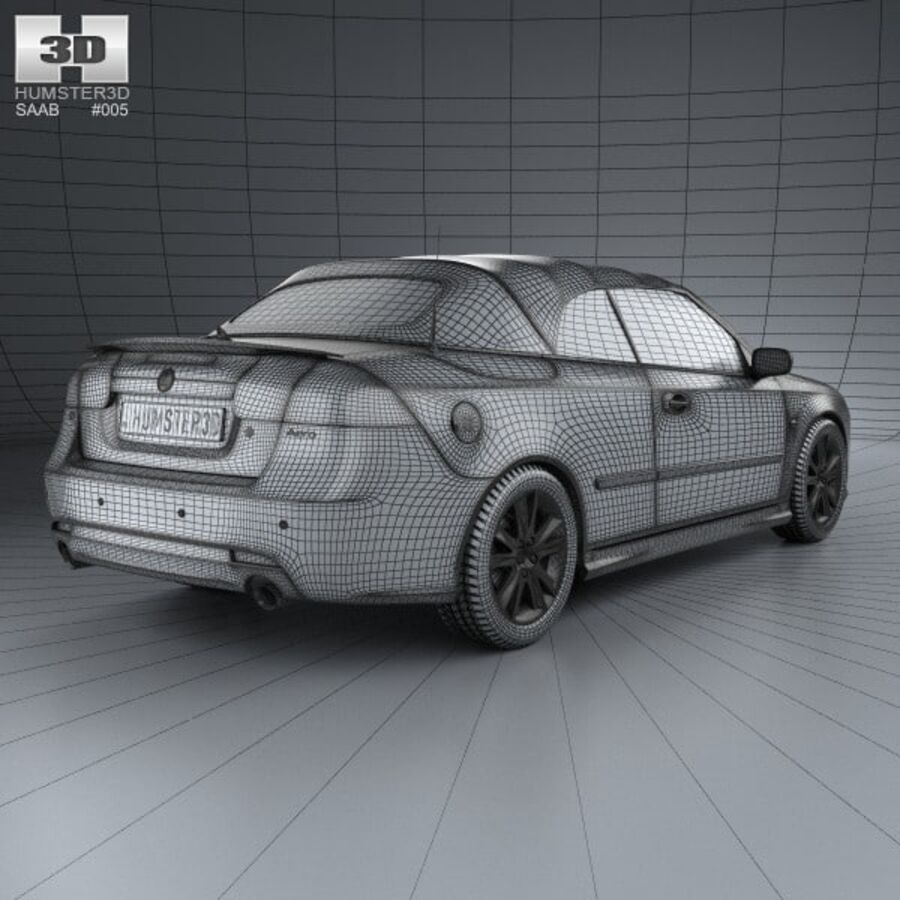 Saab 9-3 cabriolet 2008 royalty-free 3d model - Preview no. 4
