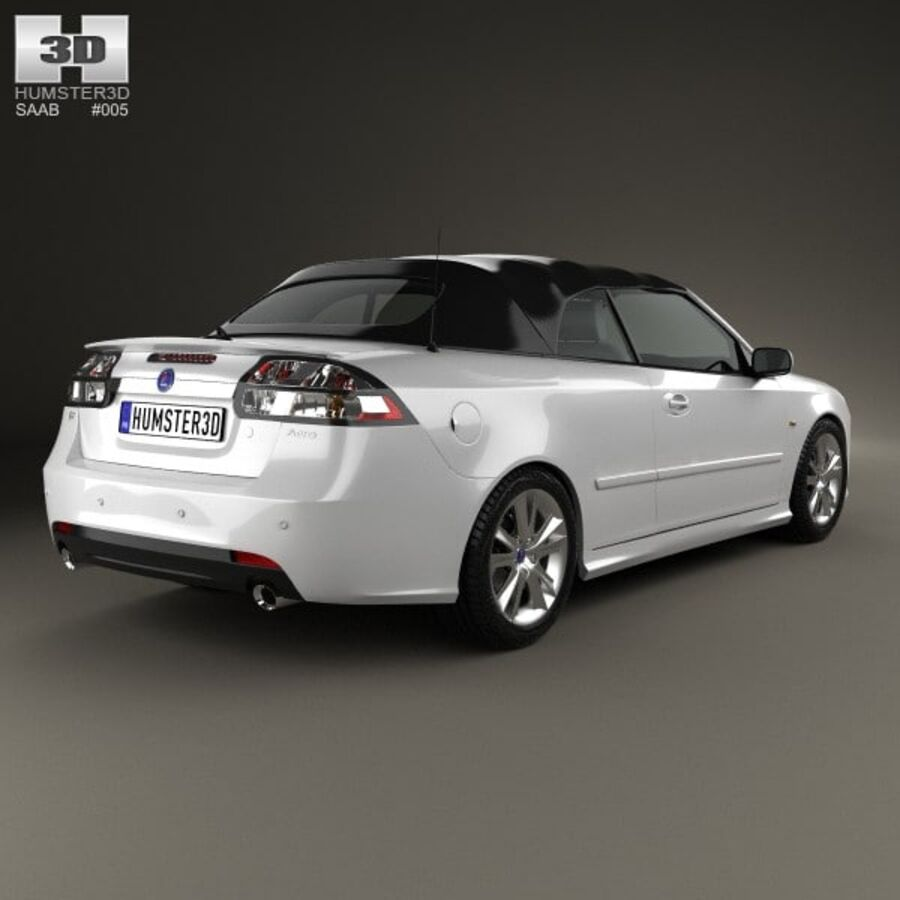Saab 9-3 cabriolet 2008 royalty-free 3d model - Preview no. 2