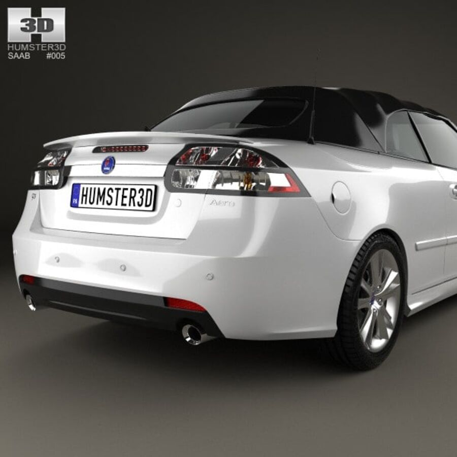 Saab 9-3 cabriolet 2008 royalty-free 3d model - Preview no. 7