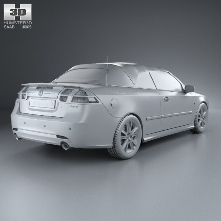 Saab 9-3 cabriolet 2008 royalty-free 3d model - Preview no. 12