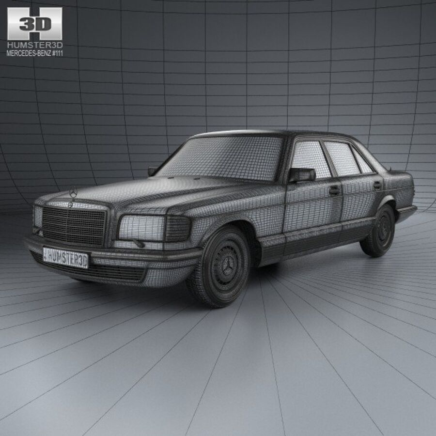 Mercedes-Benz S-Class (W126) 1979 royalty-free 3d model - Preview no. 3