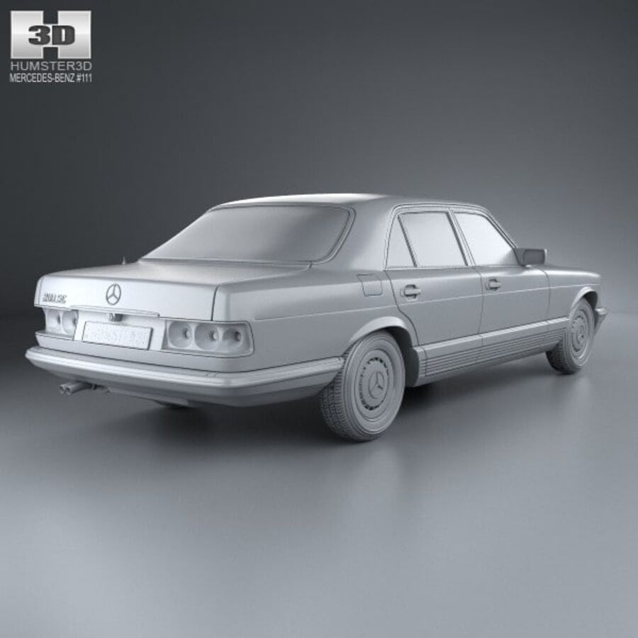 Mercedes-Benz S-Class (W126) 1979 royalty-free 3d model - Preview no. 12