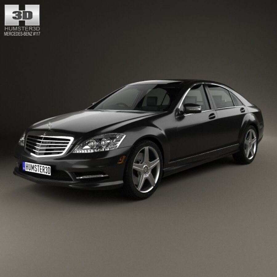 Mercedes-Benz S-Class (W221) with HQ interior 2013 royalty-free 3d model - Preview no. 1