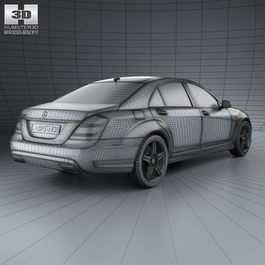Mercedes-Benz S-Class (W221) with HQ interior 2013 royalty-free 3d model - Preview no. 4