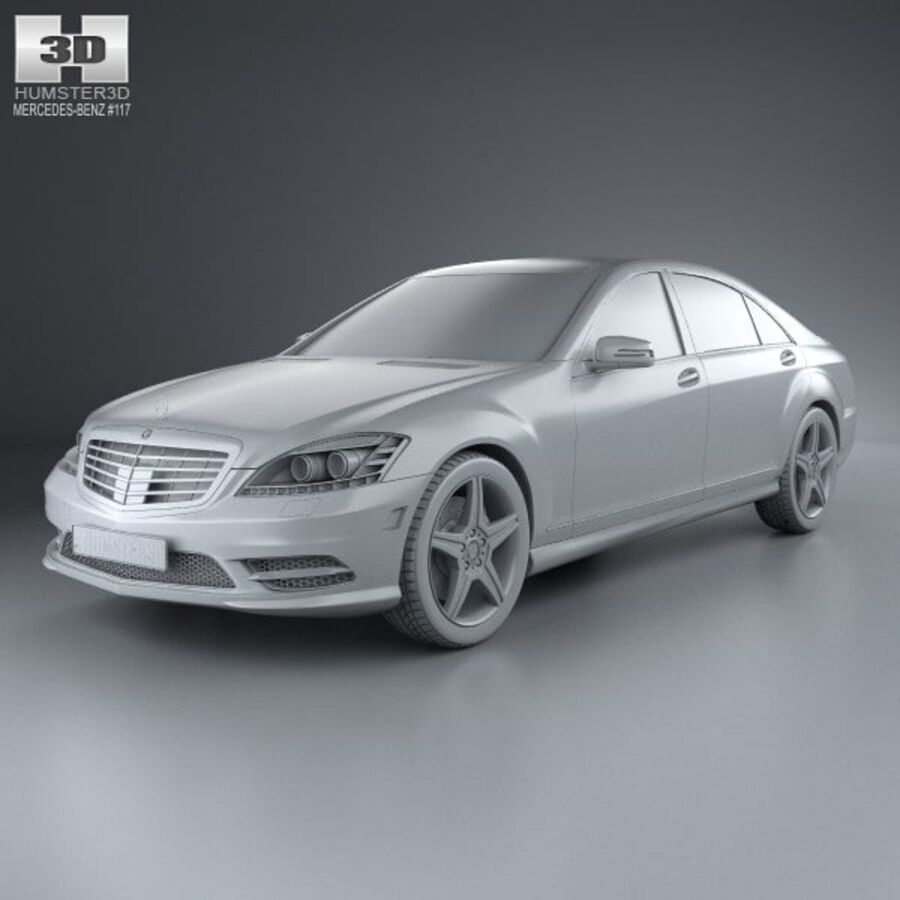 Mercedes-Benz S-Class (W221) with HQ interior 2013 royalty-free 3d model - Preview no. 11