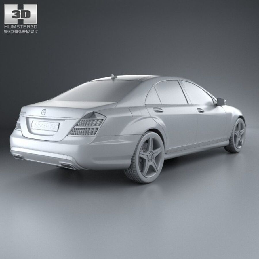 Mercedes-Benz S-Class (W221) with HQ interior 2013 royalty-free 3d model - Preview no. 12