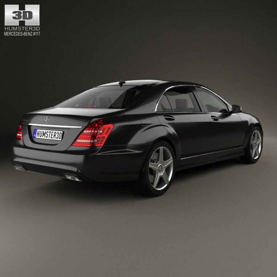 Mercedes-Benz S-Class (W221) with HQ interior 2013 royalty-free 3d model - Preview no. 2