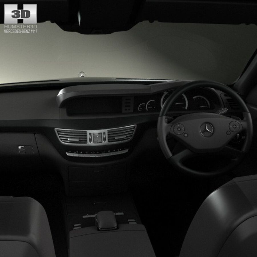 Mercedes-Benz S-Class (W221) with HQ interior 2013 royalty-free 3d model - Preview no. 14