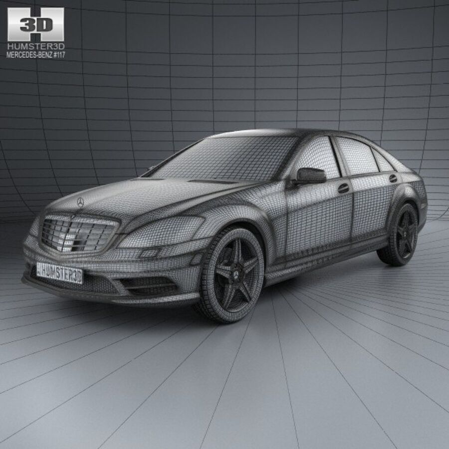 Mercedes-Benz S-Class (W221) with HQ interior 2013 royalty-free 3d model - Preview no. 3