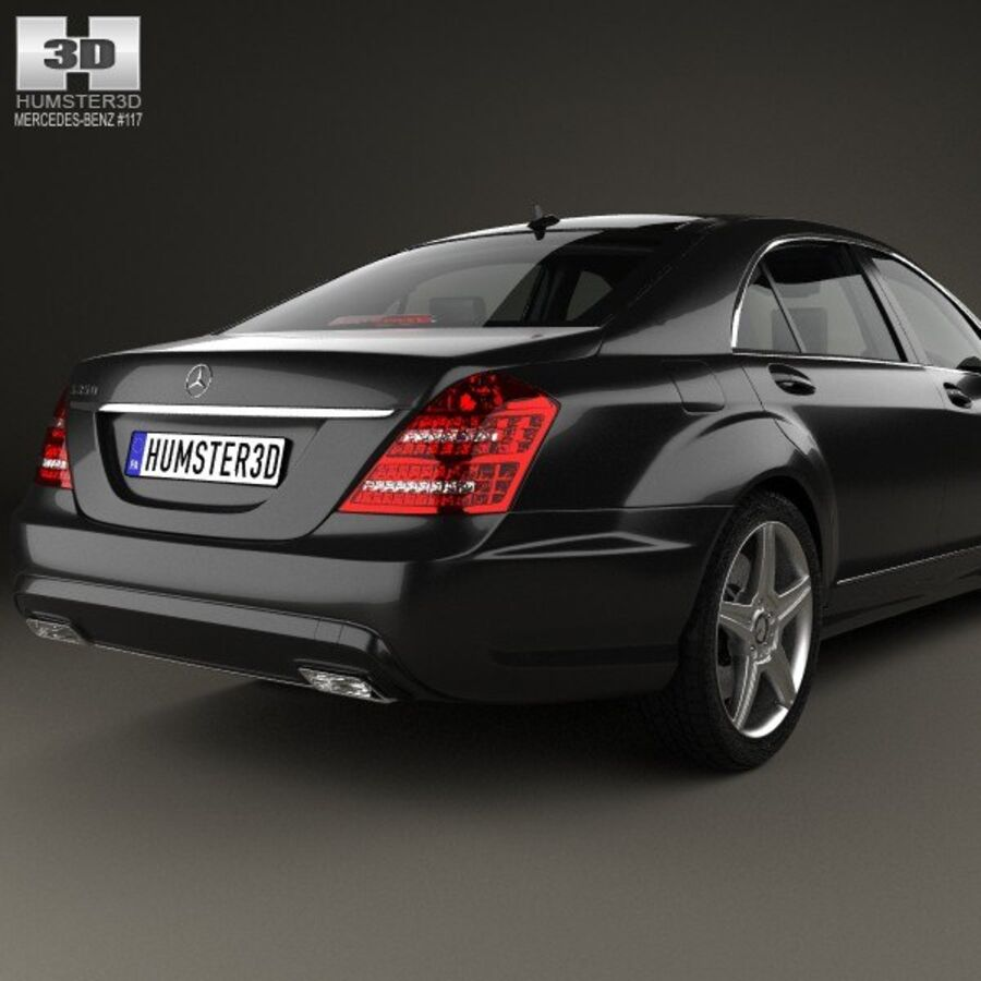 Mercedes-Benz S-Class (W221) with HQ interior 2013 royalty-free 3d model - Preview no. 7
