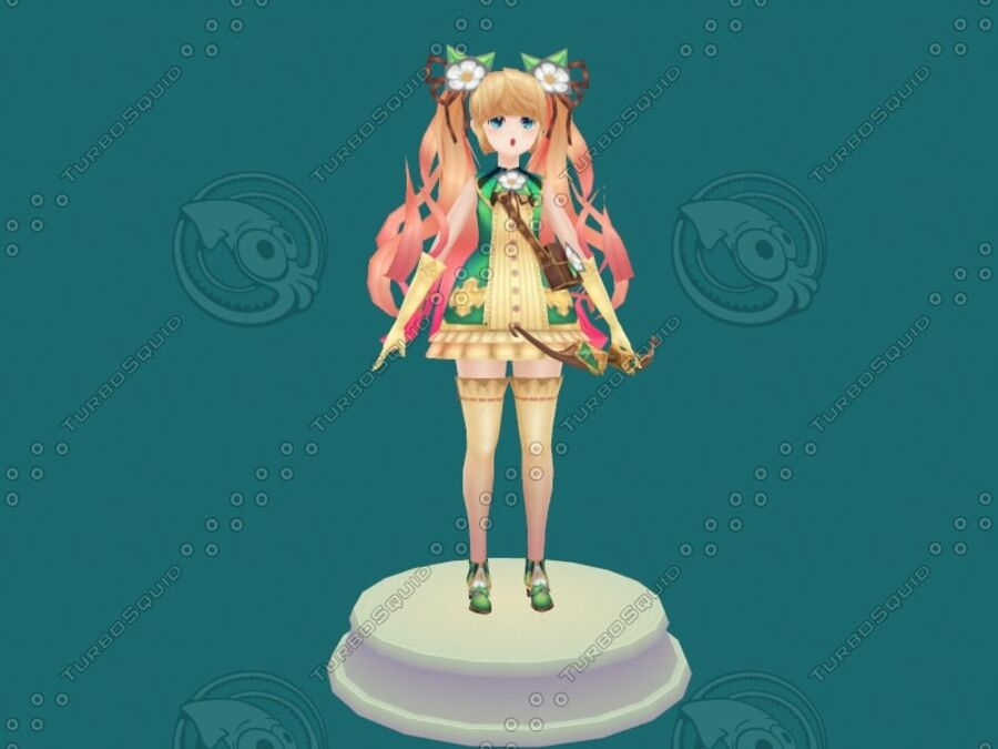 Anime Girl royalty-free 3d model - Preview no. 18