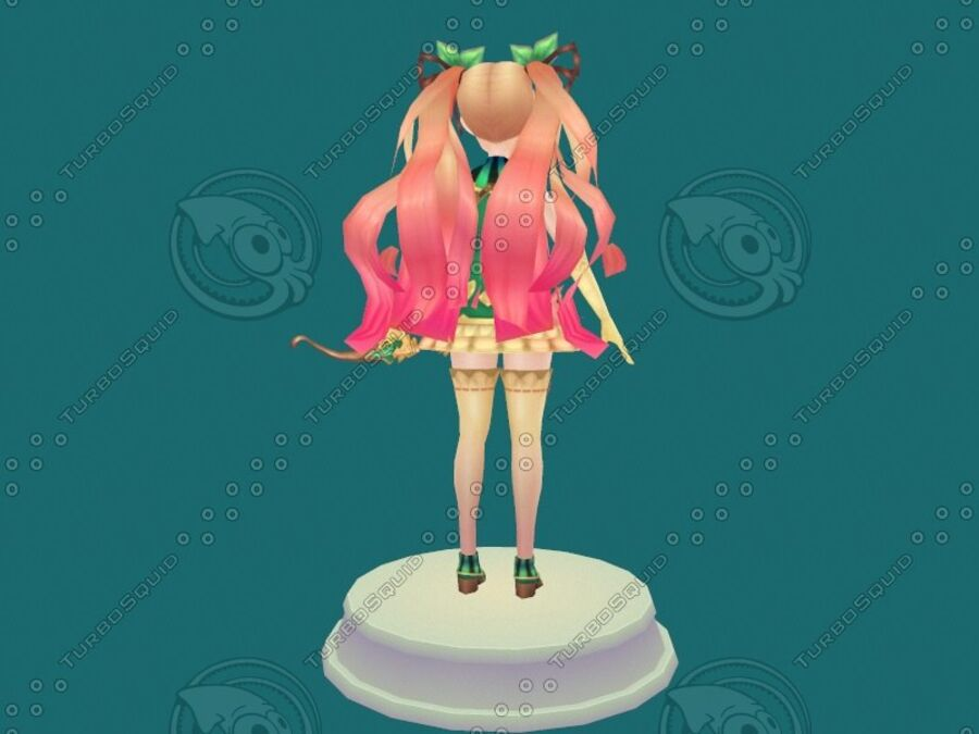 Anime Girl royalty-free 3d model - Preview no. 10