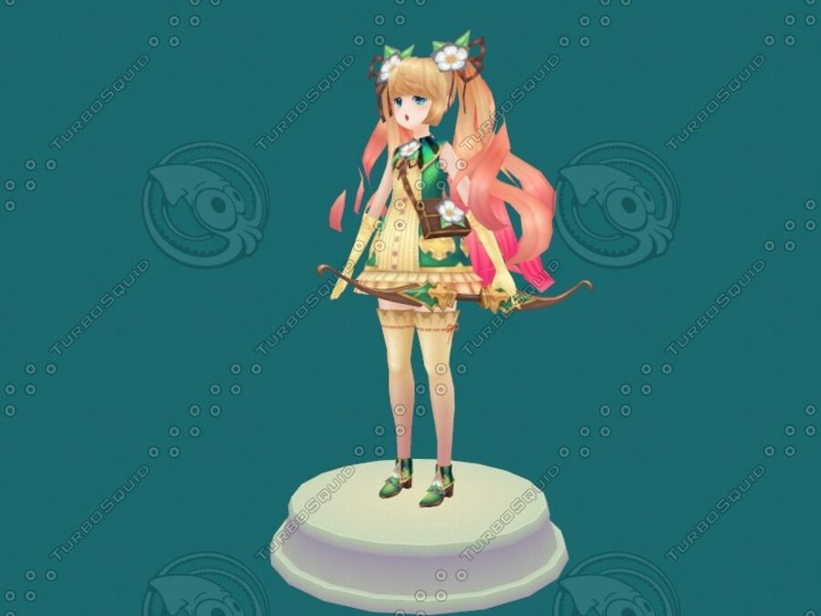 Anime Girl royalty-free 3d model - Preview no. 2