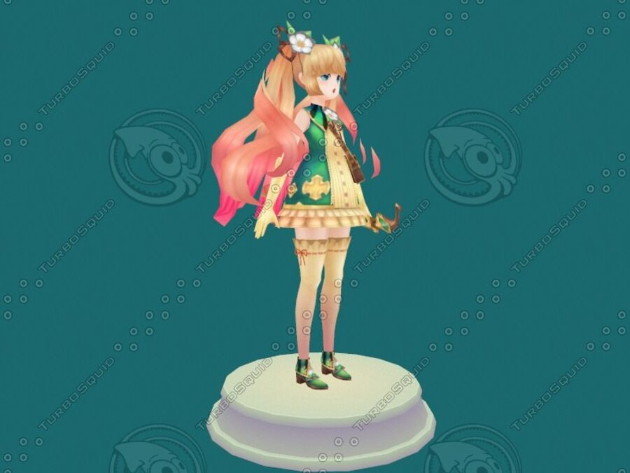 Anime Girl royalty-free 3d model - Preview no. 16