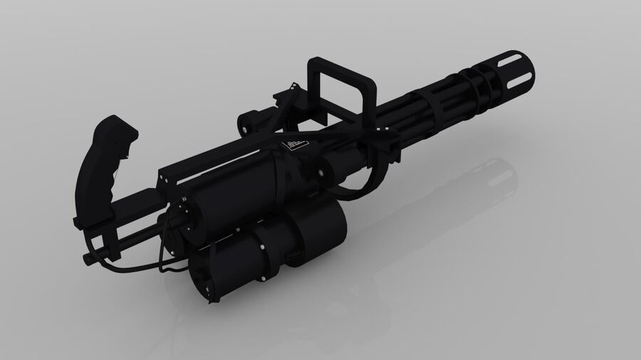 Classic M134 Minigun royalty-free 3d model - Preview no. 7