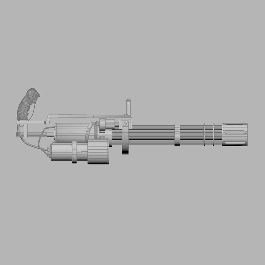Classic M134 Minigun royalty-free 3d model - Preview no. 21