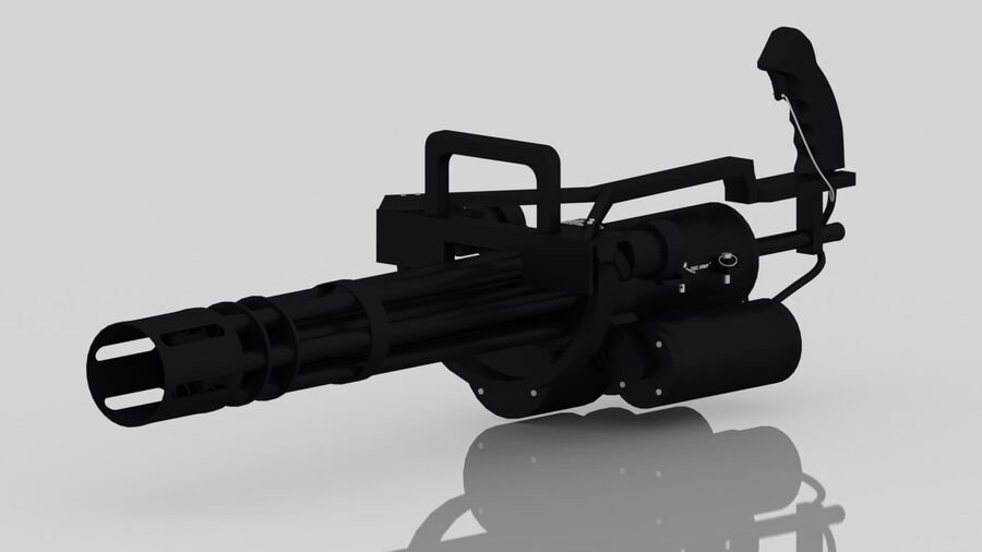 Classic M134 Minigun royalty-free 3d model - Preview no. 17