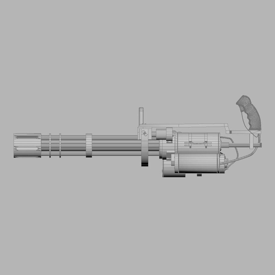 Classic M134 Minigun royalty-free 3d model - Preview no. 20