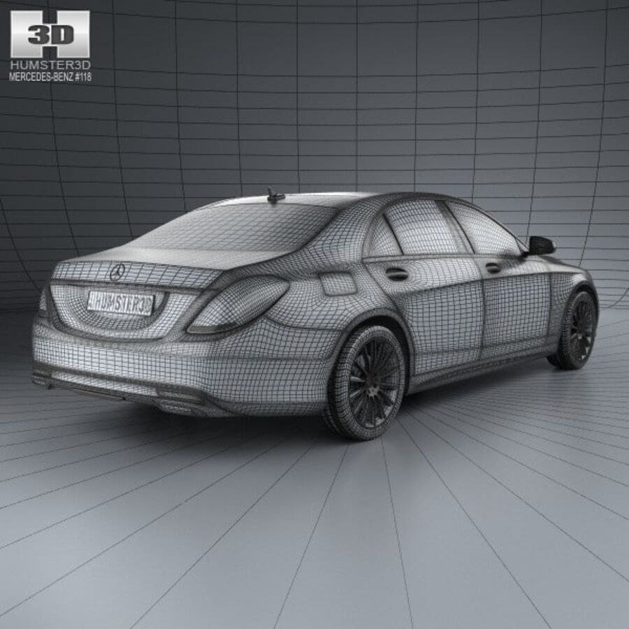 Mercedes-Benz S-Class (W222) with HQ interior 2014 royalty-free 3d model - Preview no. 4
