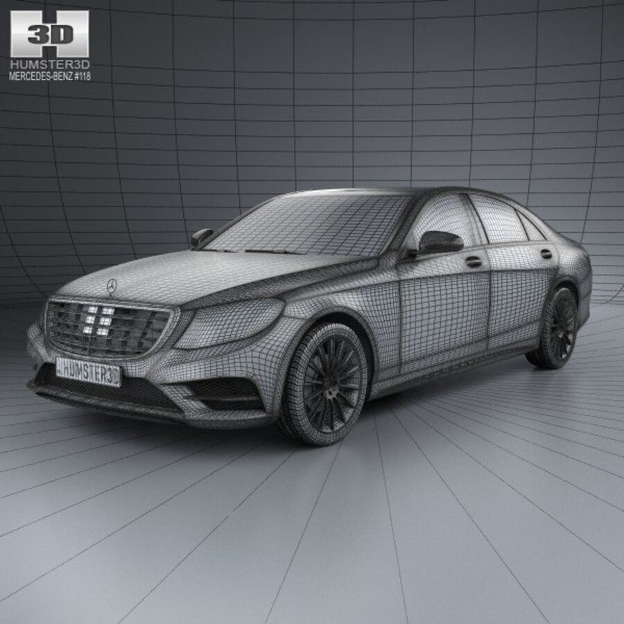 Mercedes-Benz S-Class (W222) with HQ interior 2014 royalty-free 3d model - Preview no. 3