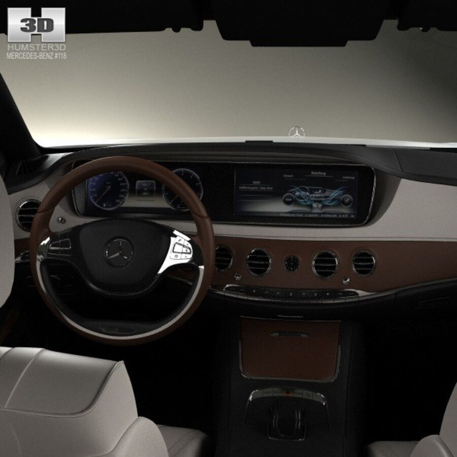 Mercedes-Benz S-Class (W222) with HQ interior 2014 royalty-free 3d model - Preview no. 14