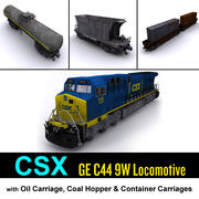 Locomotiva e carro de carga CSX 3d model