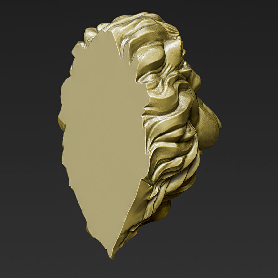 Lion Head Pendant 3d print model royalty-free 3d model - Preview no. 6