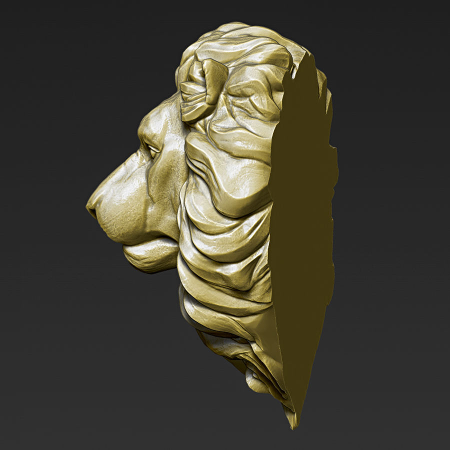 Lion Head Pendant 3d print model royalty-free 3d model - Preview no. 5