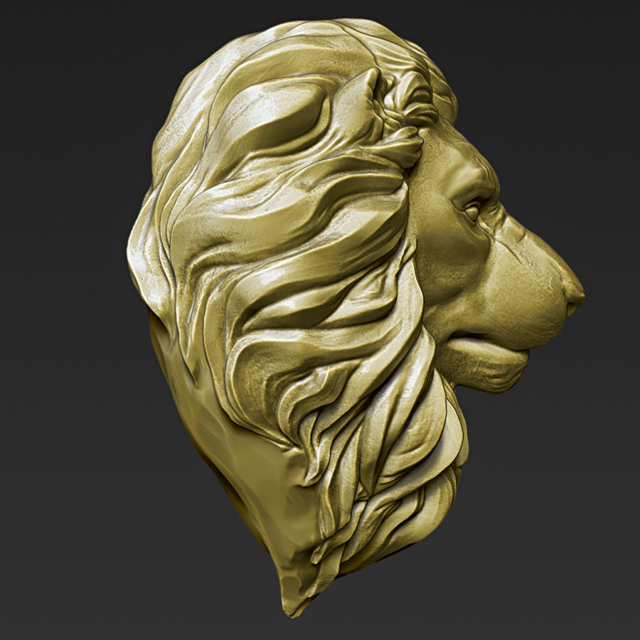 Lion Head Pendant 3d print model royalty-free 3d model - Preview no. 9