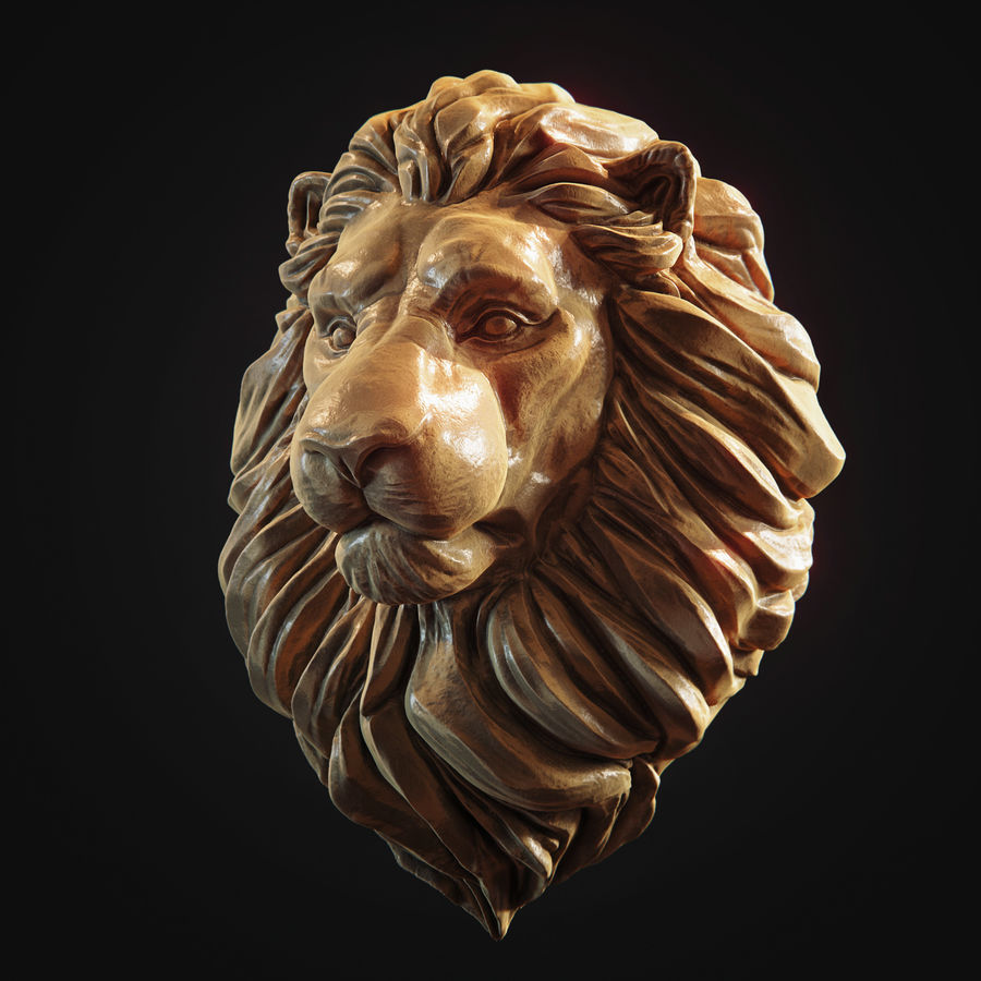 Lion Head Pendant 3d print model royalty-free 3d model - Preview no. 3