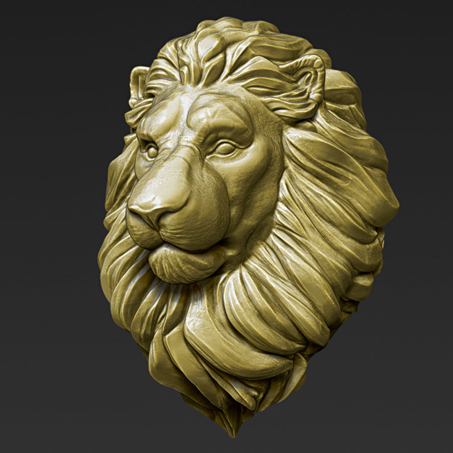 Lion Head Pendant 3d print model royalty-free 3d model - Preview no. 12