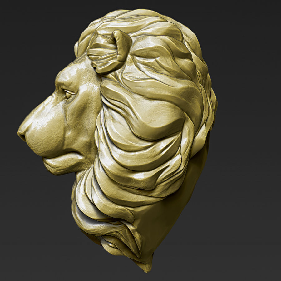 Lion Head Pendant 3d print model royalty-free 3d model - Preview no. 8