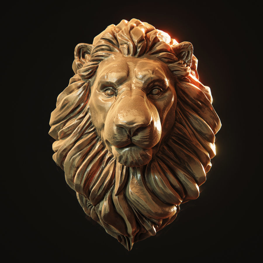 Lion Head Pendant 3d print model royalty-free 3d model - Preview no. 1