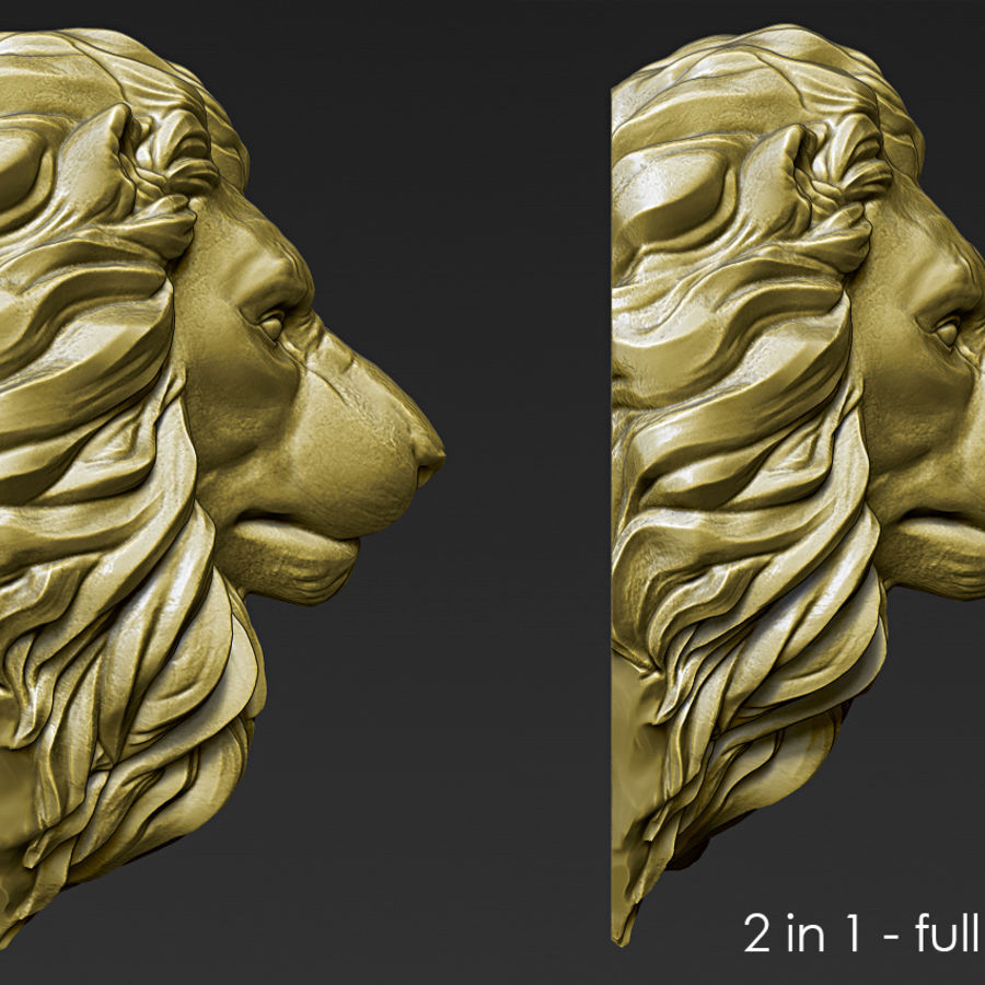 Lion Head Pendant 3d print model royalty-free 3d model - Preview no. 2