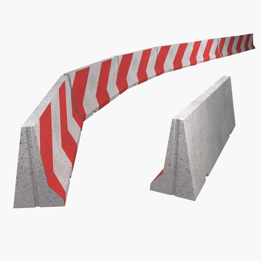 Concrete road barrier royalty-free 3d model - Preview no. 3